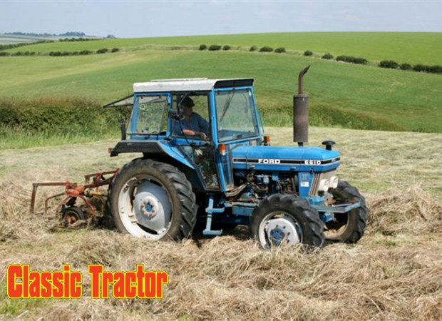 Ford 6610 turning hay